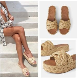 Zara natural raffia platform wedge sandal slides